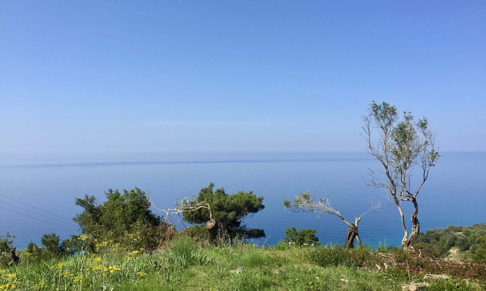 Mirtiotissa beach just underneight, paradise view for sale plot of land west coast corfu