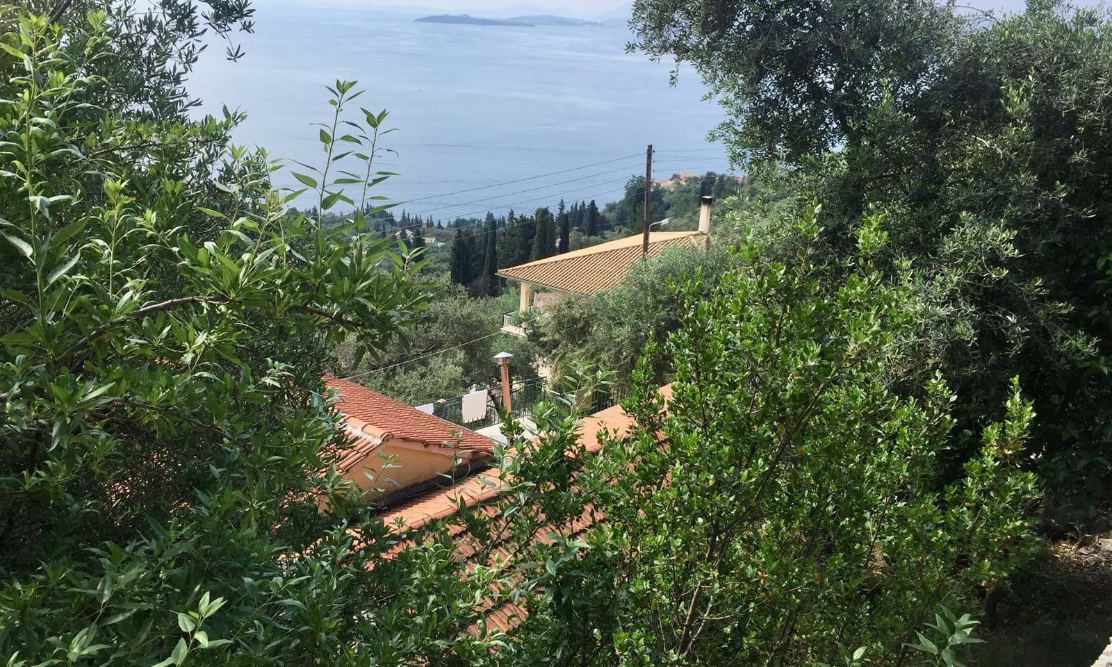 View from the lefthand side of the plot facing the sea, turning right overlooking Corfu Town